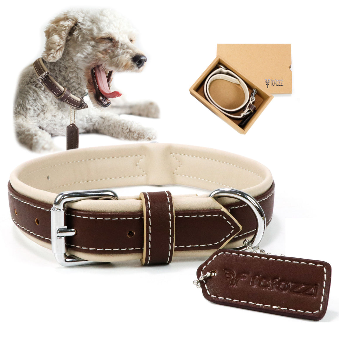 Cushioned Dog Collar With Double D-Ring