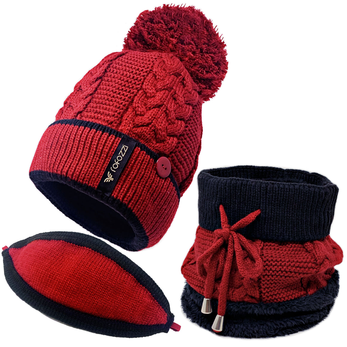 Pompom Beanie Hat Neck Warmer - 3-in-1 - Red