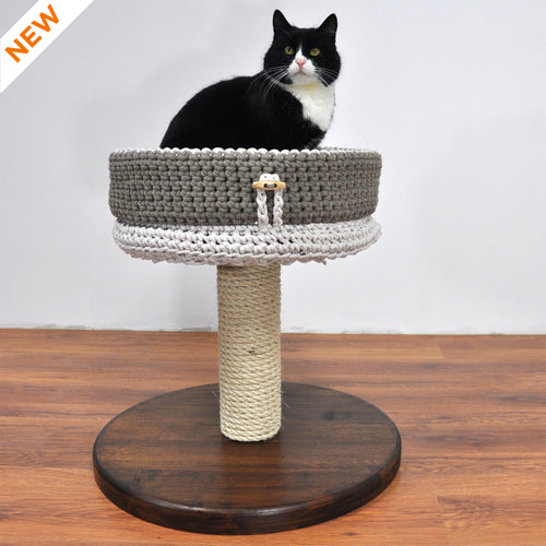 Cat Tree - Basic 1M. Modular Cat Tree Finished with Oil/Wax in Deep Brown