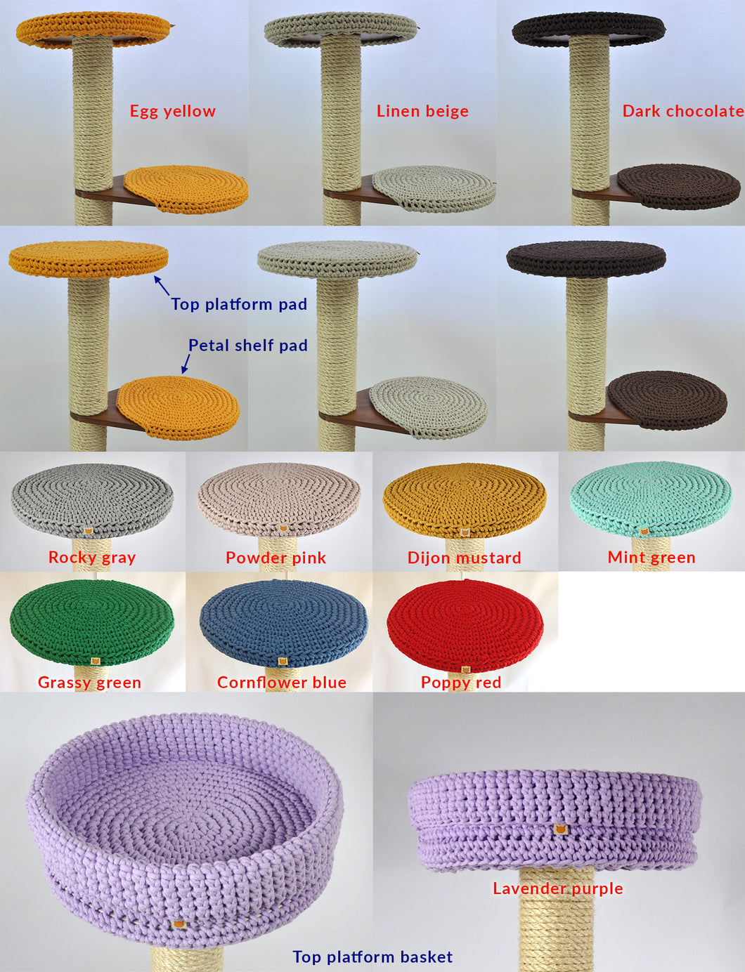 A set of knitted pads for the 5-seater cat tree