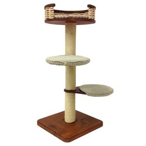 Single Tower Cat Tree with Partially Open Sisal Basket