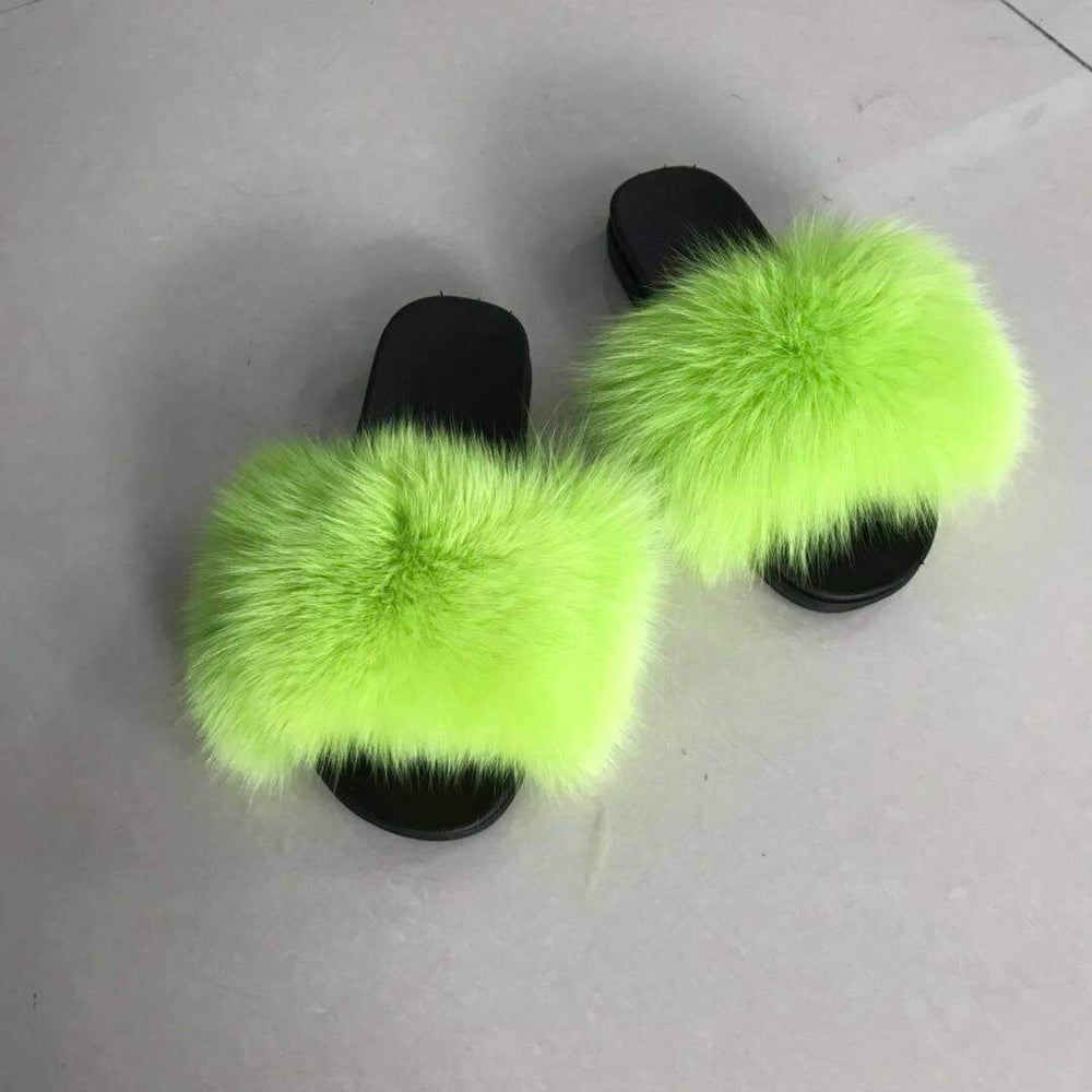 Fur Slippers-Solid Green