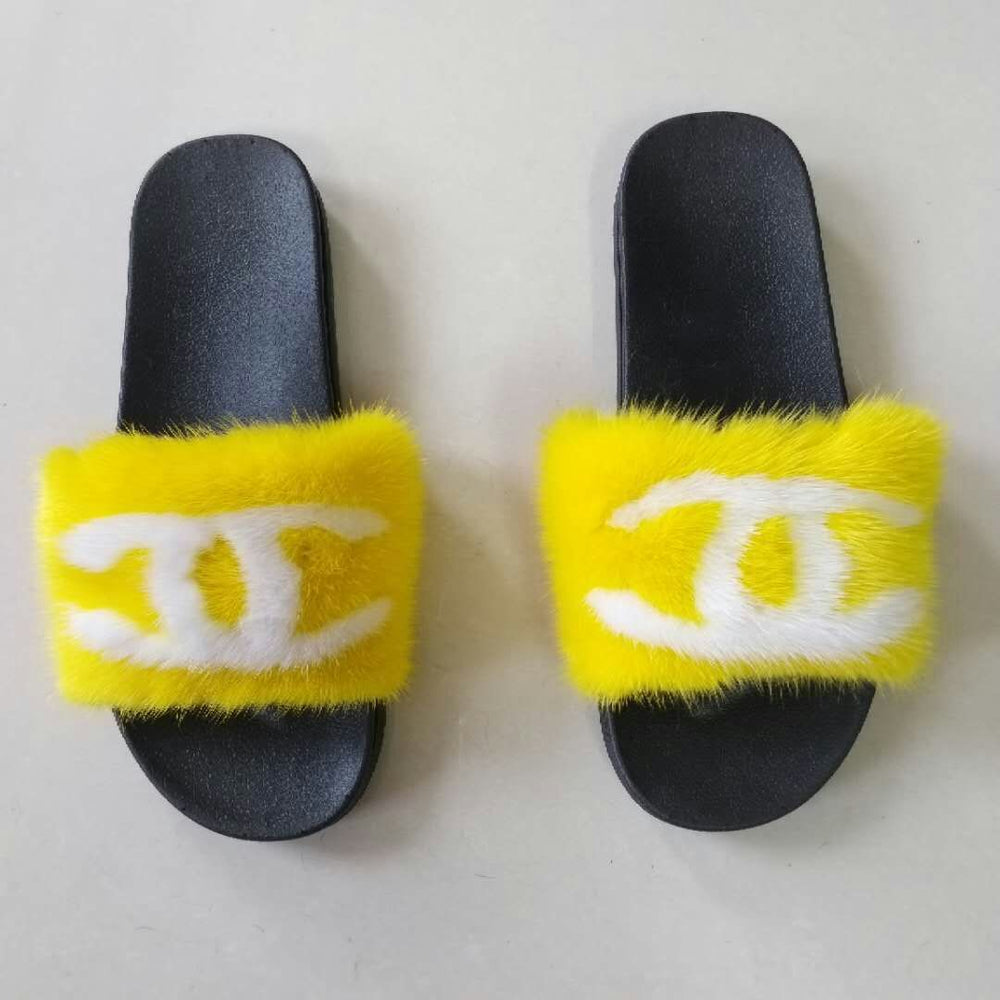 Yellow CC Mink Fur Slippers
