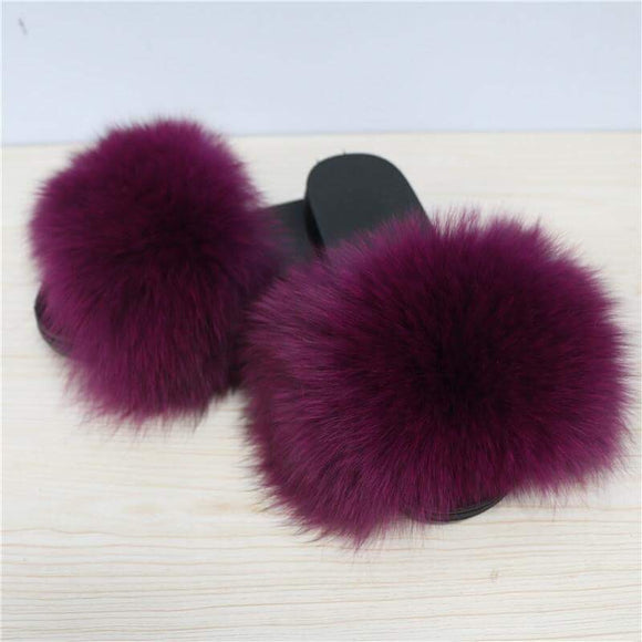 Fur Slippers-Grapes