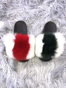 White GG Fur Slippers