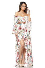 "Load image into Gallery viewer, ""Aurora"" Hi-Lo Off-Shoulder Belted Maxi Dress"