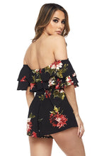 "Load image into Gallery viewer, ""Charlotte"" Off-Shoulder Ruffle Romper"