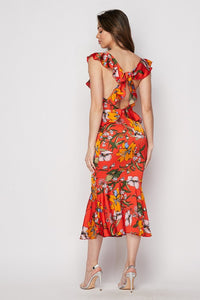 """Delilah"" Floral Ruffled Mermaid Midi Dress - Red"