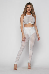 """Fancy"" Iridescent Jeweled Crop Top & Pants Set - White"