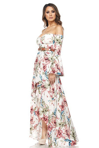 """Aurora"" Hi-Lo Off-Shoulder Belted Maxi Dress"