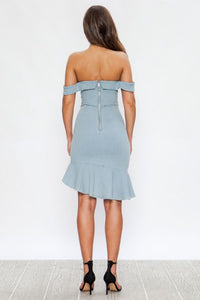 """Adrienne"" Off Shoulder Sweetheart Ruffle Denim Dress"