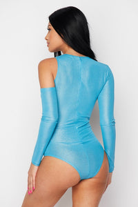 """Remi"" One Sleeve Cut Bodysuit - Neon Blue with Silver Shimmer"