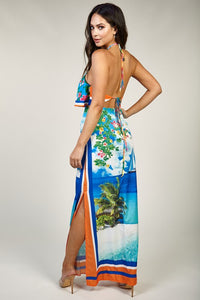 """Hawaiian"" Ocean Breeze Tropical Island Maxi Dress"