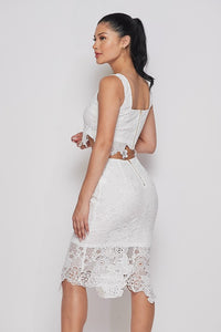 """Peyton"" Lace 2 Piece Set - White"