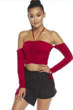 "Load image into Gallery viewer, ""Rochelle"" Ruched Off-Shoulder Crop Top - Burgundy"