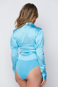 """Aleeza"" Satin Button Down Bodysuit - Blue"