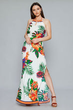 "Load image into Gallery viewer, ""Kala"" Tropical Halter Maxi Dress with Side Slits - Ivory"