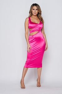 """Bebe"" Silky Spandex Cut Out Bodycon Midi Dress"