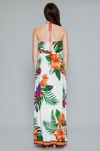 """Kala"" Tropical Halter Maxi Dress with Side Slits - Ivory"