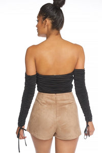 """Rochelle"" Ruched Off-Shoulder Crop Top - Black"
