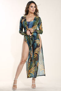 """Catalina"" Tropical Cut-Out Swimsuit & Mesh Kimono Set"
