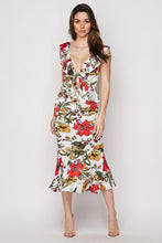 "Load image into Gallery viewer, ""Delilah"" Floral Ruffled Mermaid Midi Dress - White"