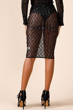 "Load image into Gallery viewer, ""Diamond"" Sequin Mesh Pencil Skirt"