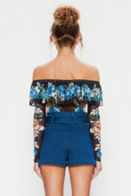 "Load image into Gallery viewer, ""Savannah"" Off-Shoulder Ruffled Mesh Bodysuit"