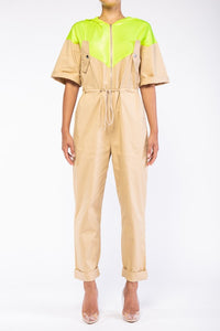 """Dylan"" Neon & Taupe Jumpsuit"