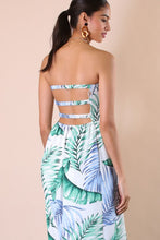 "Load image into Gallery viewer, ""Stella"" Scrunched Strapless Leaf Print Maxi Dress"