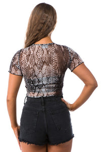 """Snake"" Print Sheer Mesh Crop Top"