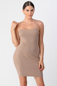 """Evie"" Basic Ribbed Knit Bodycon Mini - Nude"