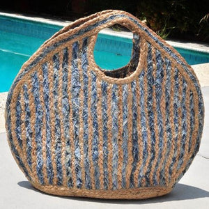"""India"" Straw & Denim Blue Woven Tote Bag"