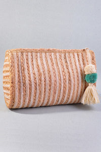 """Amara"" Jute Tassel Striped Clutch - White"