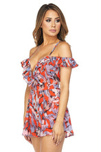 "Load image into Gallery viewer, ""Makenna"" Plunging Floral Flowy Romper"
