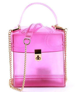 """Jelly"" Rubberized Square Top Handle Satchel Crossbody Mini Bag - Frosty Pink"
