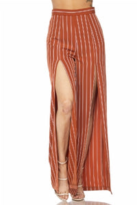 """Cherise"" Slit Leg Striped Slacks -Rust"