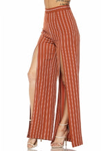 "Load image into Gallery viewer, ""Cherise"" Slit Leg Striped Slacks -Rust"