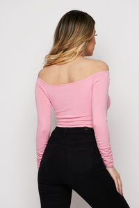 """Allison"" Knit Over Lay Crop Top - Pink"