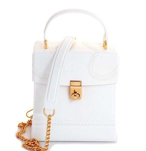 """Jelly"" Rubberized Square Top Handle Satchel Crossbody Mini Bag - White"
