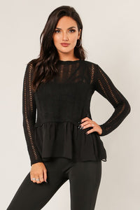 """Claire"" Wow Couture Thin Chiffon Ruffled Sweater"