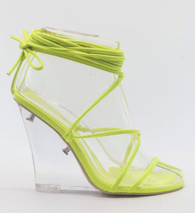 """Fallen"" Strappy Ankle Clear Wedges -  Neon Yellow"