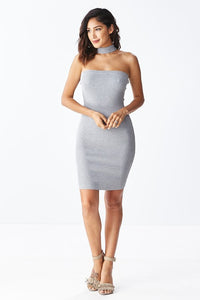 """Yolanda"" Knit Choker Bodycon Sweater Dress"