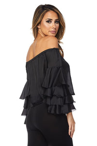 """Ellie"" Satin Off Shoulder Ruffle Blouse"