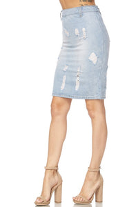 """Dina"" Distressed Denim Pencil Skirt - Light Wash"