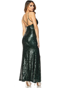"""Sasha"" Sequin Gown with Slit"