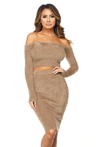 """Jordan"" Fuzzy Off Shoulder Crop Top & Skirt Set"