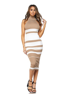 """Dani"" Ribbed Knit Mock Neck Midi Dress"