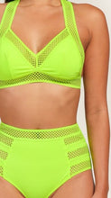 "Load image into Gallery viewer, ""Alexa"" High Waist Elastic Band Swimsuit - Neon Green"