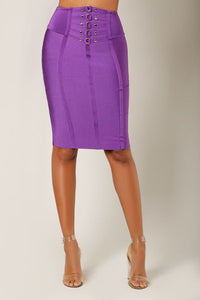 """Mercedes"" Purple Bandage Pencil Skirt with Gold Detail"